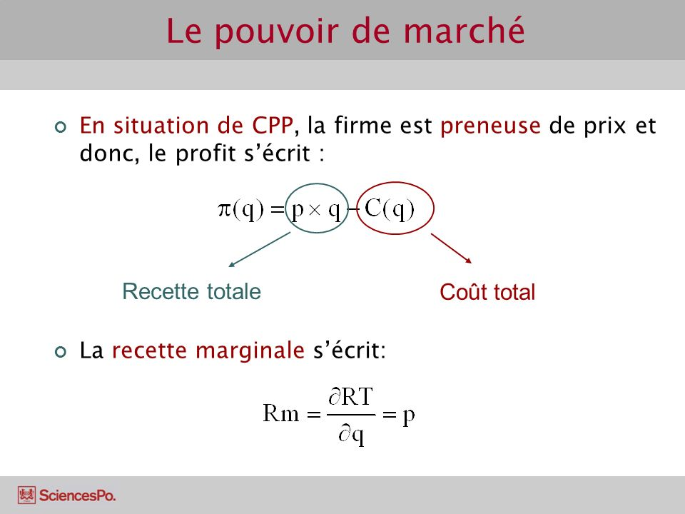 Le pouvoir de marché En situation de CPP, la firme est preneuse de prix et donc, le profit s'écrit :