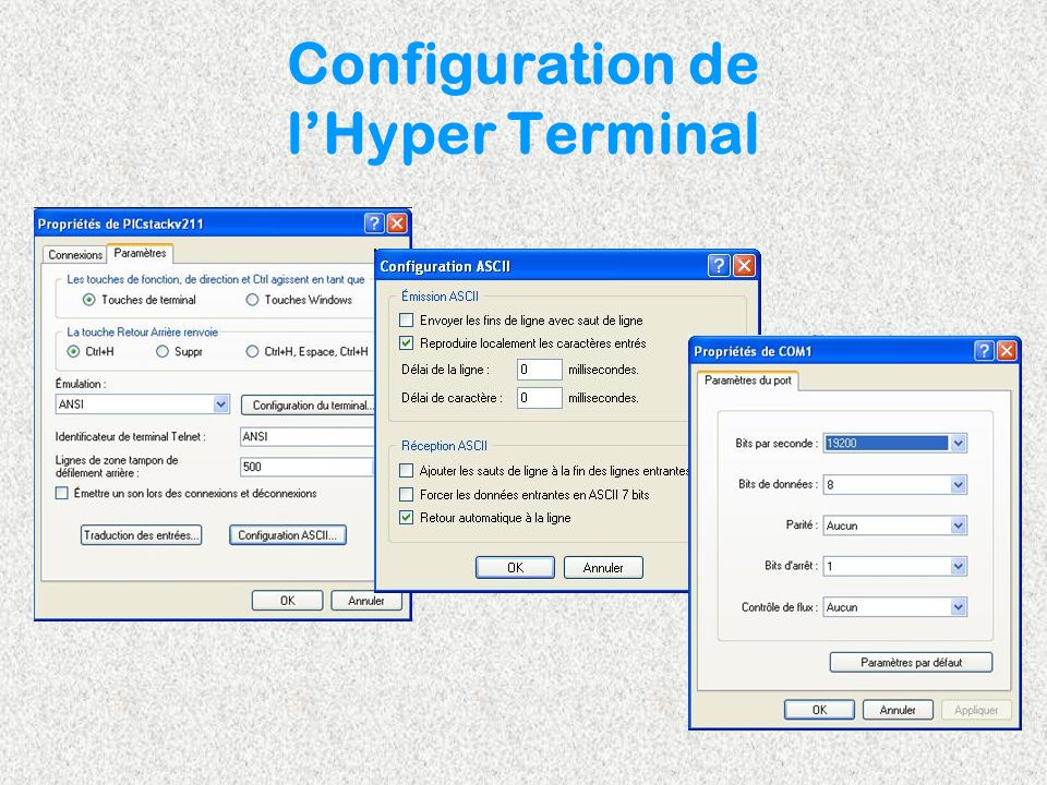 Configuration de l'Hyper Terminal
