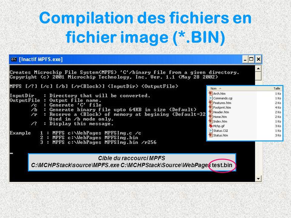 Compilation des fichiers en fichier image (*.BIN)