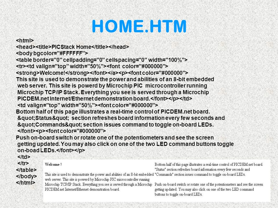 HOME.HTM <html> <head><title>PICStack Home</title></head> <body bgcolor= #FFFFFF > <table border= 0 cellpadding= 0 cellspacing= 0 width= 100% >