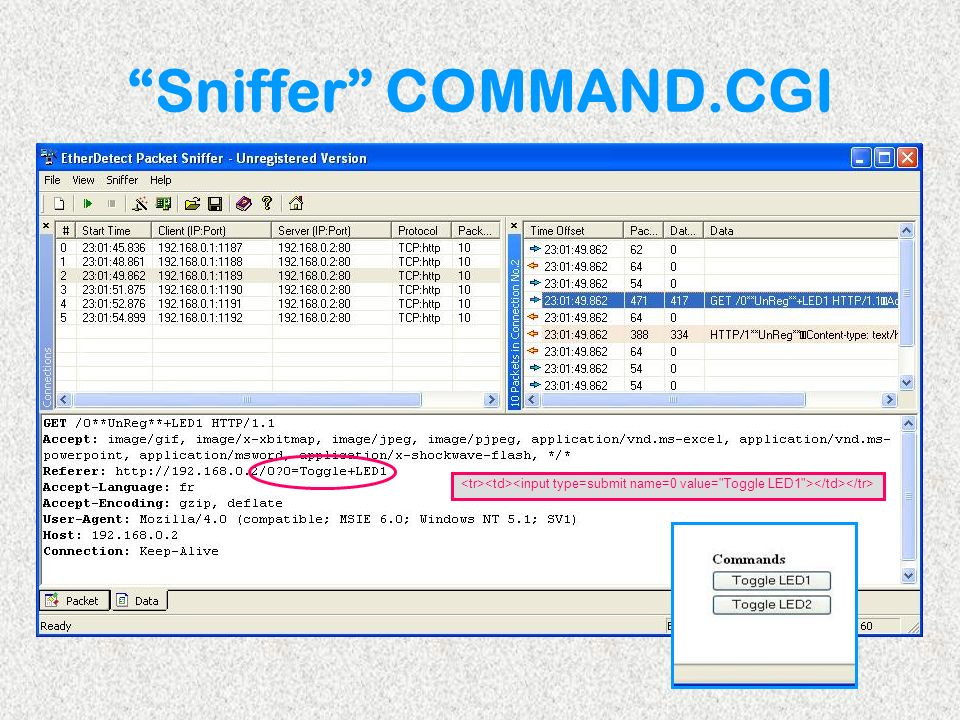 Sniffer COMMAND.CGI <tr><td><input type=submit name=0 value= Toggle LED1 ></td></tr>