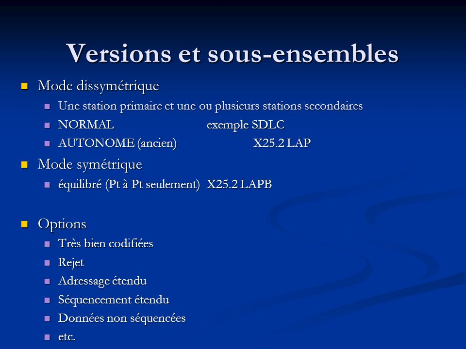 Versions et sous-ensembles
