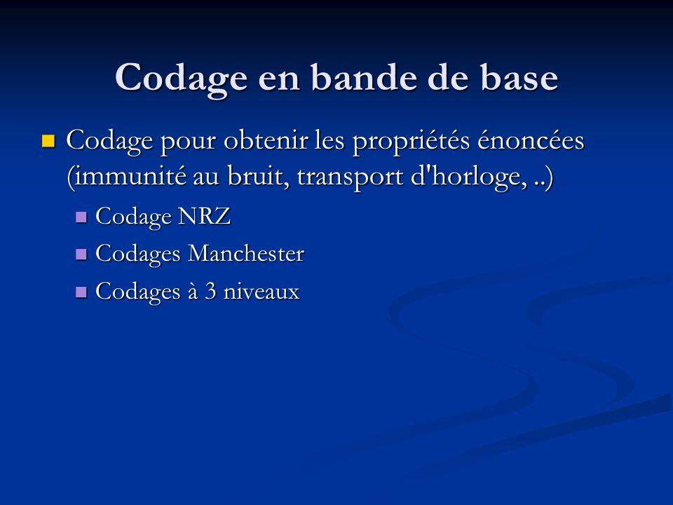 Codage en bande de base Codage pour obtenir les propriétés énoncées (immunité au bruit, transport d horloge, ..)