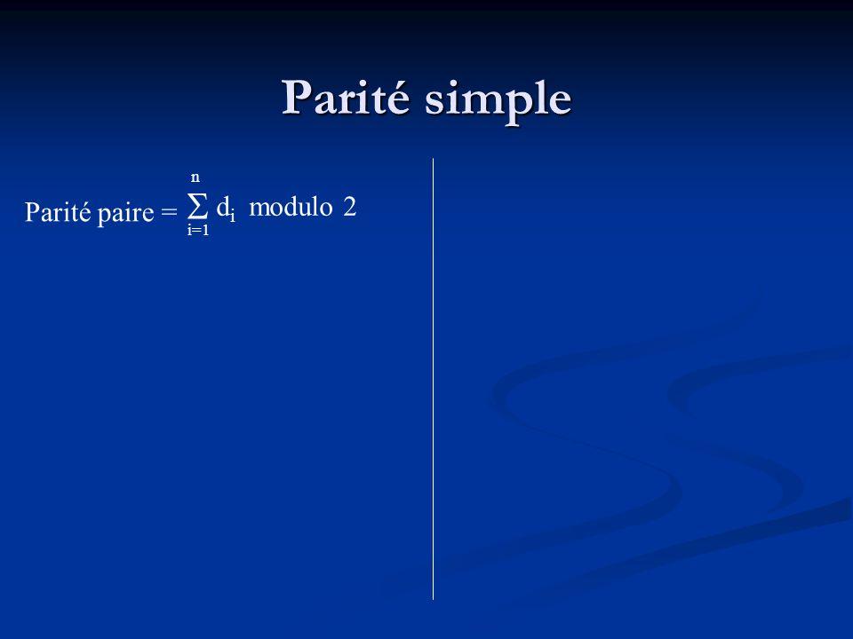 Parité simple n  di modulo 2 Parité paire = i=1