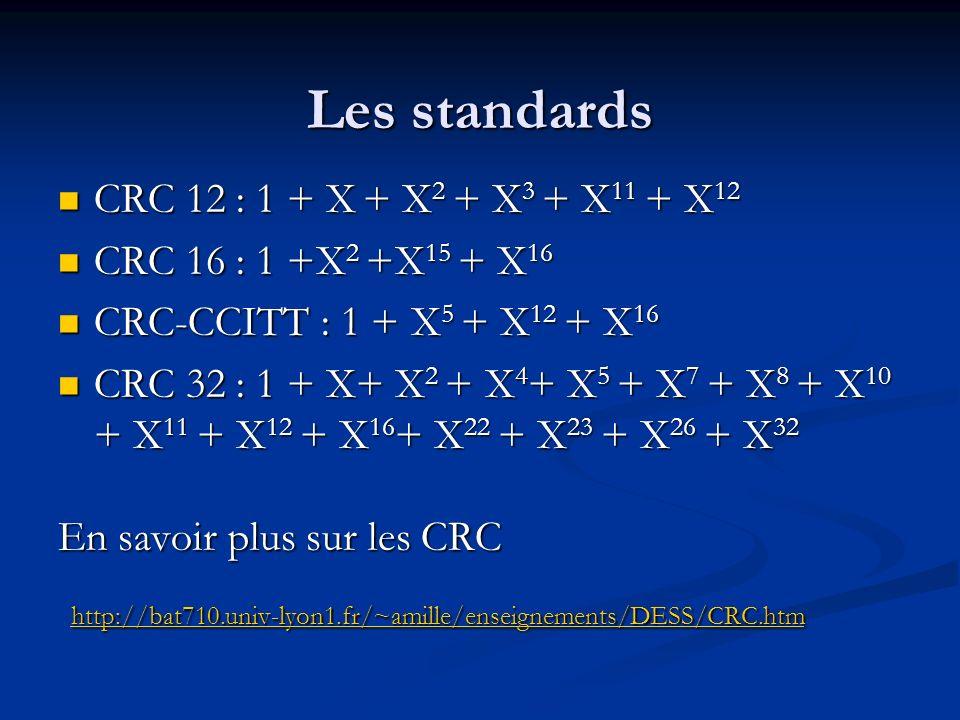 Les standards CRC 12 : 1 + X + X2 + X3 + X11 + X12. CRC 16 : 1 +X2 +X15 + X16. CRC-CCITT : 1 + X5 + X12 + X16.