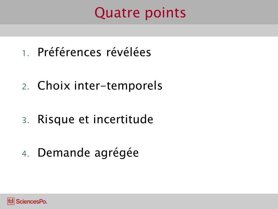Quatre points Préférences révélées Choix inter-temporels