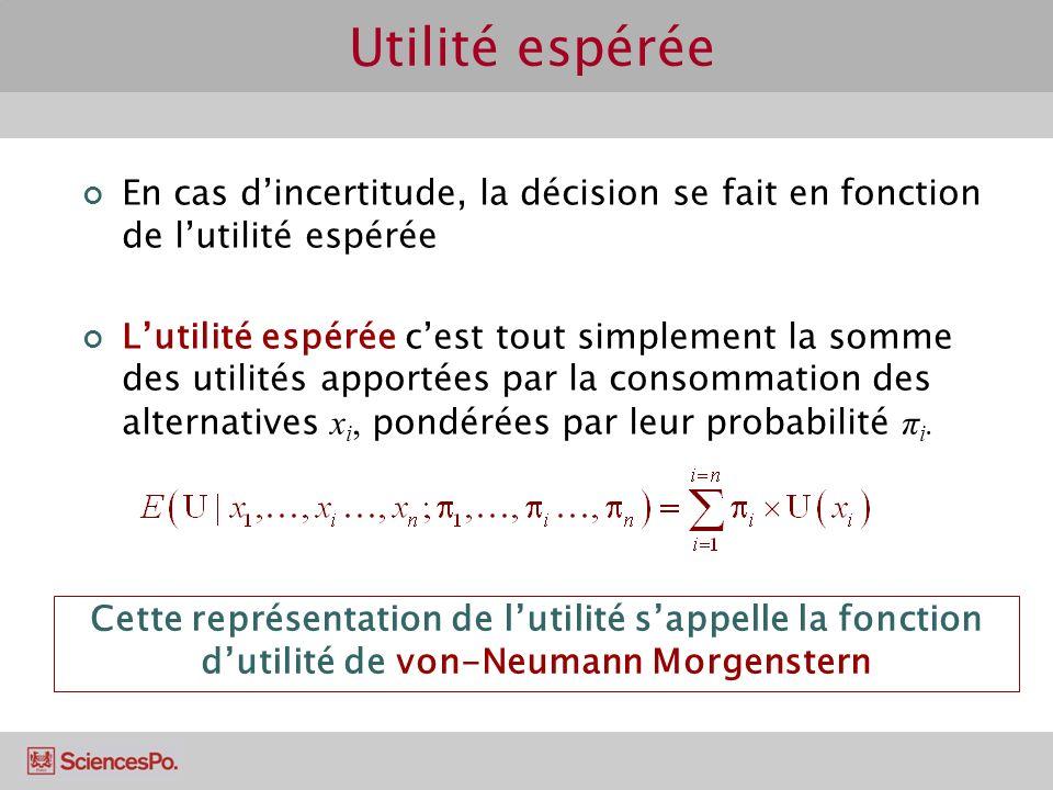 Utilité espérée En cas d'incertitude, la décision se fait en fonction de l'utilité espérée.