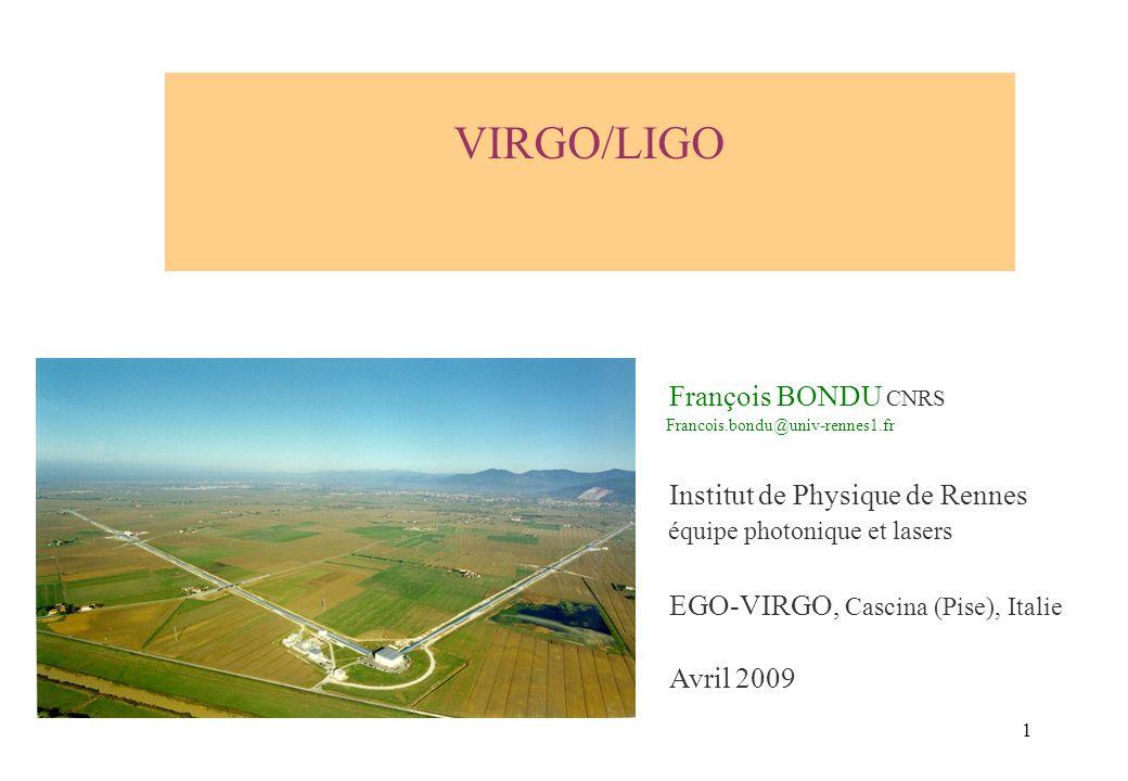 VIRGO/LIGO François BONDU CNRS Institut de Physique de Rennes