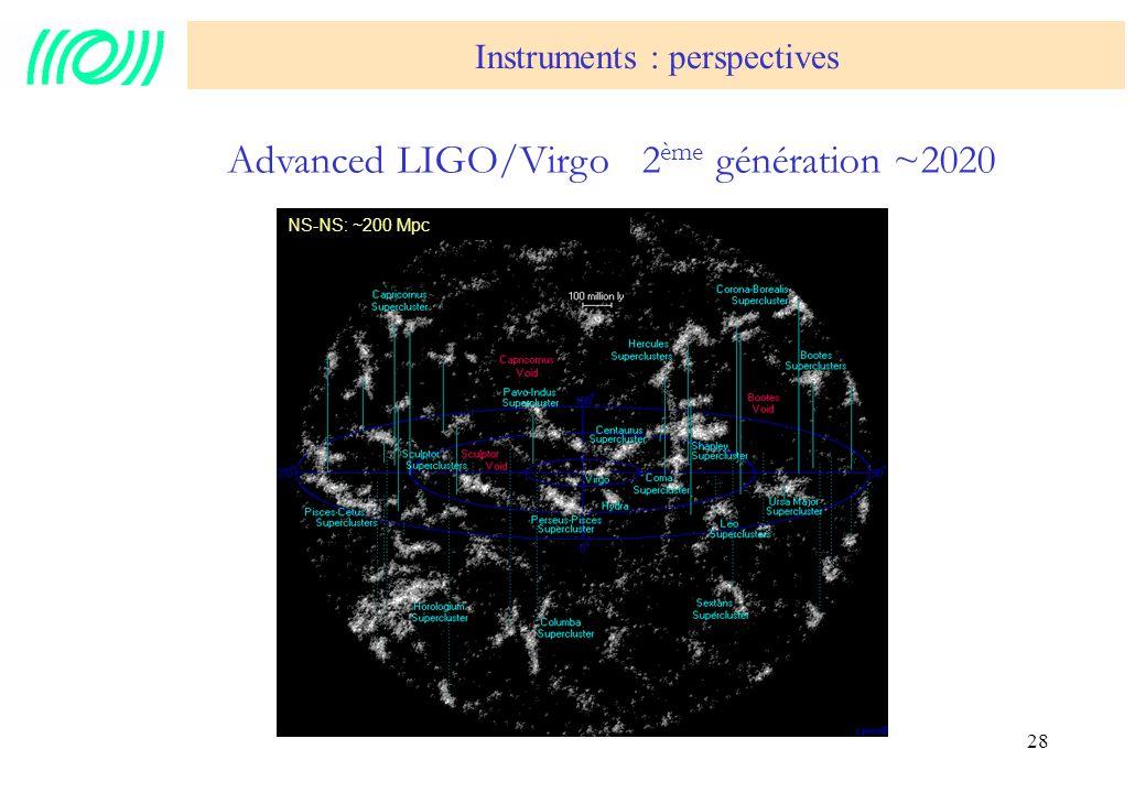 Advanced LIGO/Virgo 2ème génération ~2020