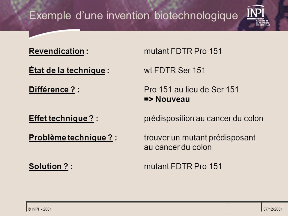 Exemple d'une invention biotechnologique