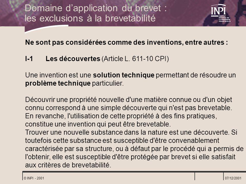 Domaine d'application du brevet : les exclusions à la brevetabilité