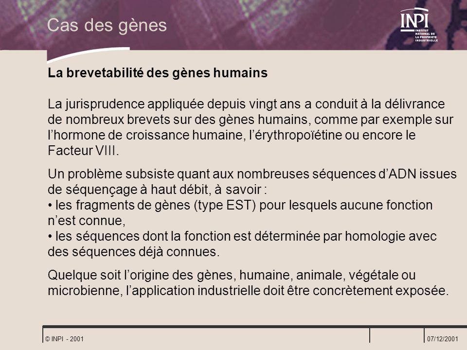 Cas des gènes La brevetabilité des gènes humains