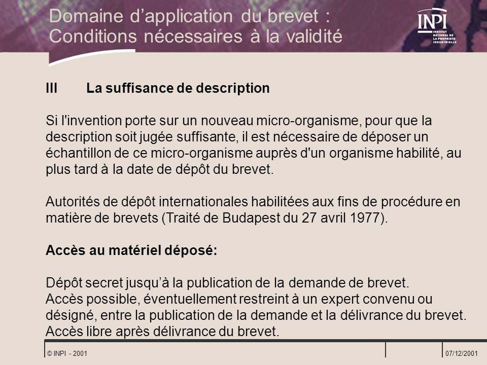 Domaine d'application du brevet : Conditions nécessaires à la validité