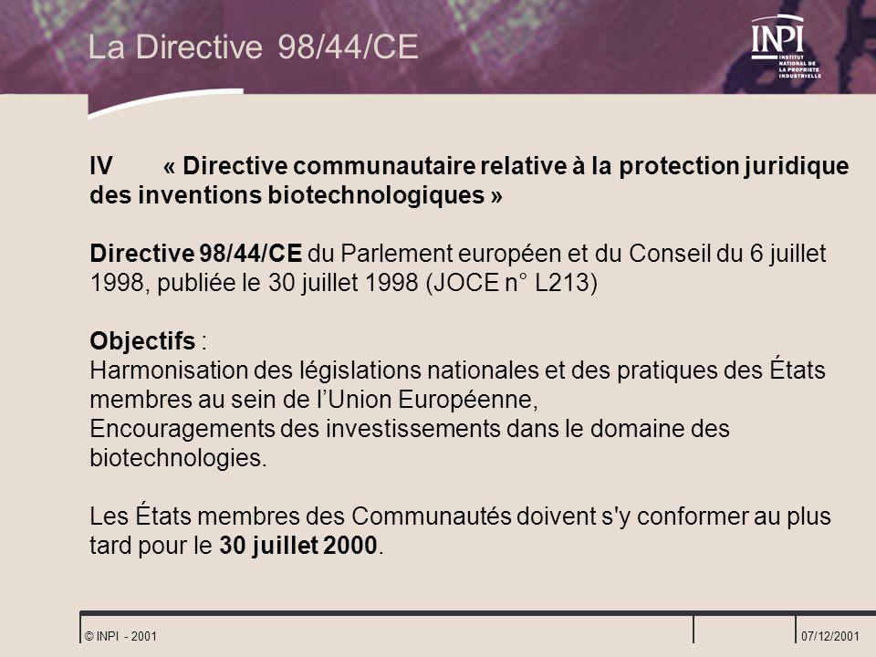 La Directive 98/44/CE