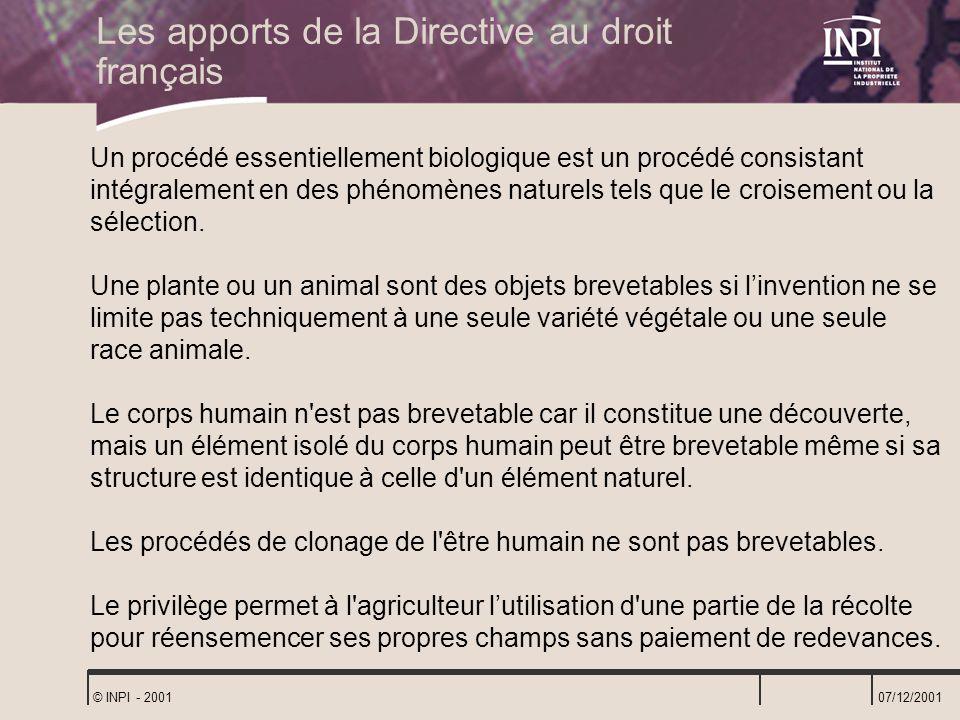 Les apports de la Directive au droit français