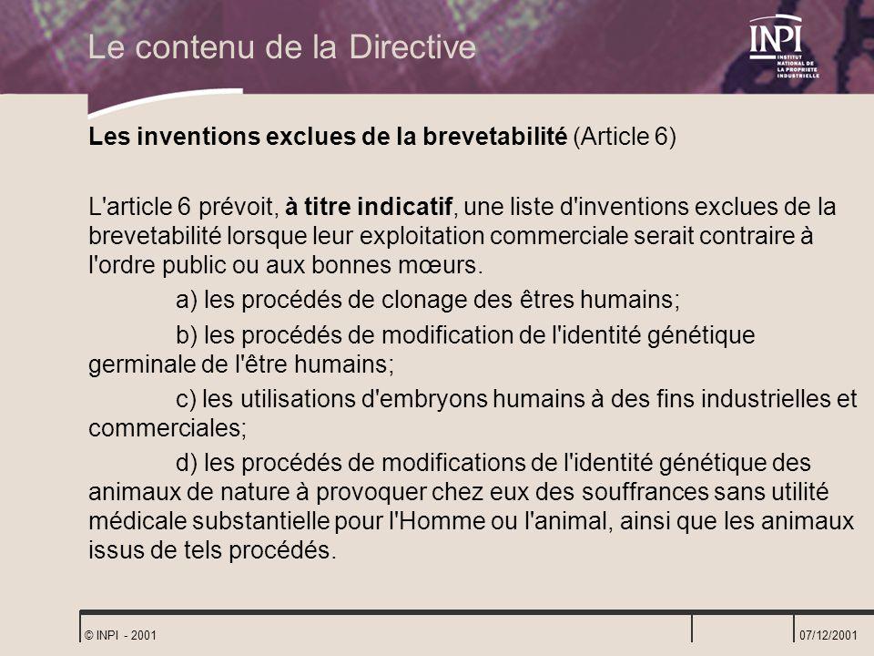 Le contenu de la Directive