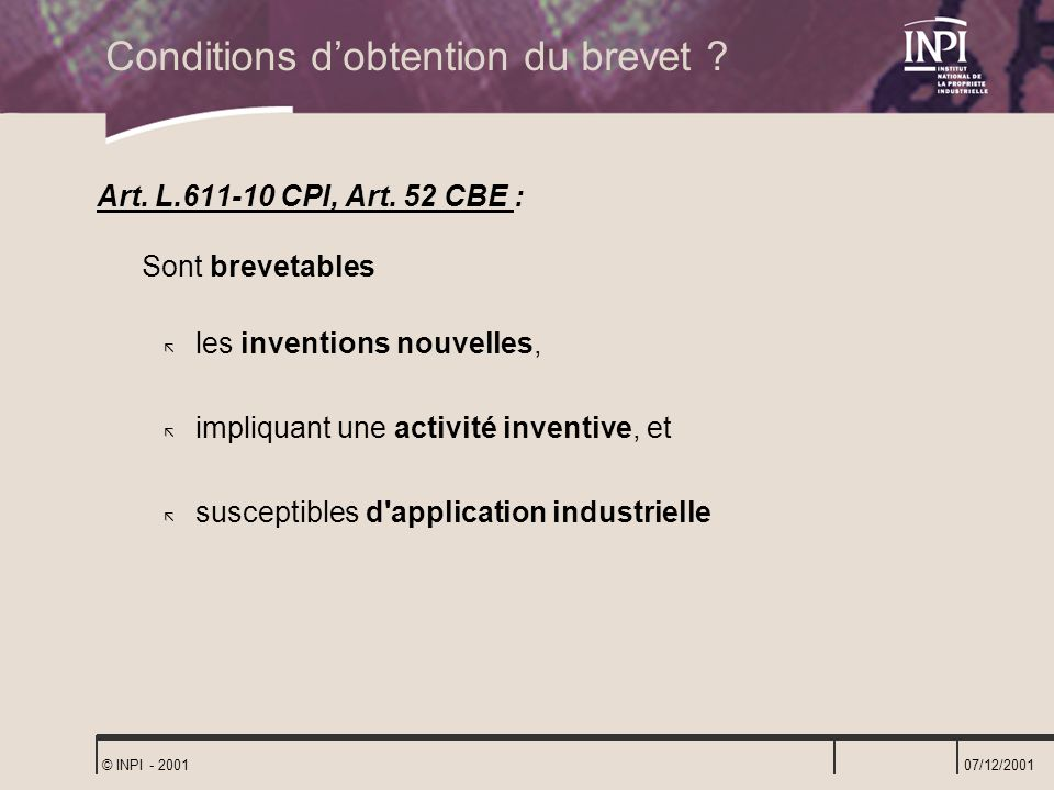 Conditions d'obtention du brevet