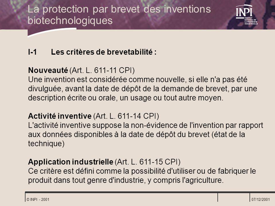 La protection par brevet des inventions biotechnologiques