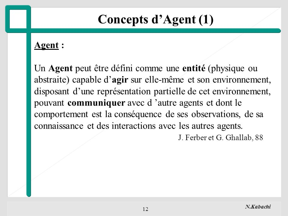 Concepts d'Agent (1) Agent :