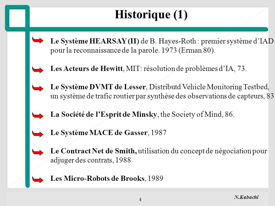 Historique (1) Le Système HEARSAY (II) de B. Hayes-Roth : premier système d'IAD. pour la reconnaissance de la parole. 1973 (Erman 80).