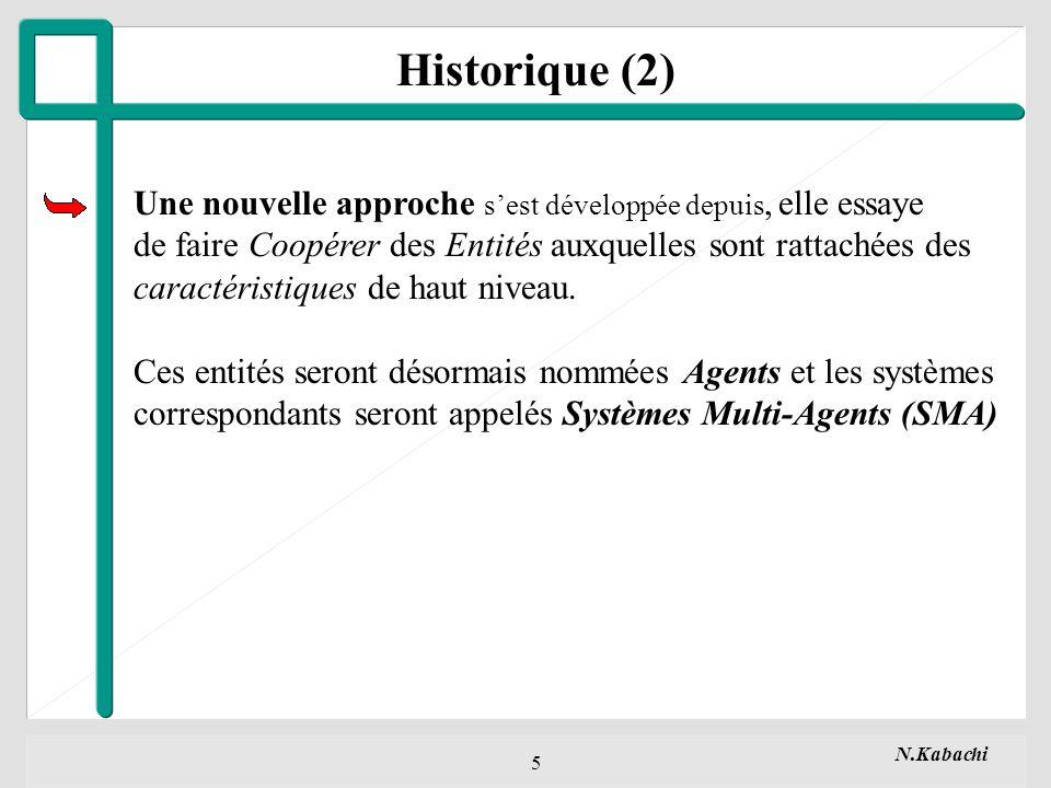 Historique (2) Une nouvelle approche s'est développée depuis, elle essaye. de faire Coopérer des Entités auxquelles sont rattachées des.