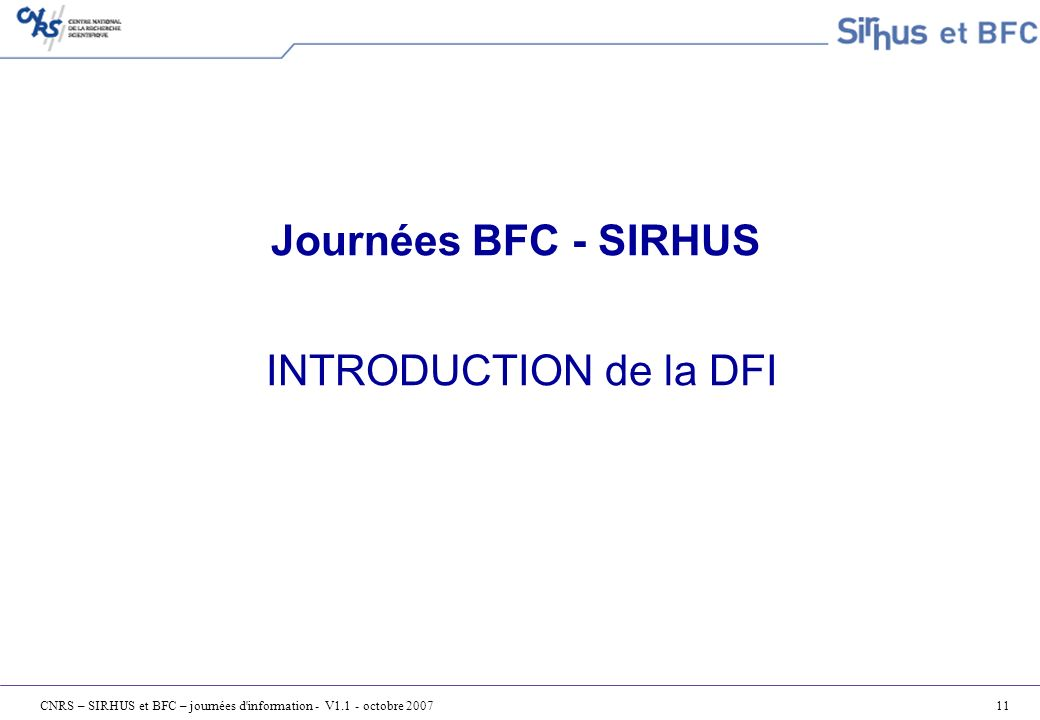 Journées BFC - SIRHUS INTRODUCTION de la DFI