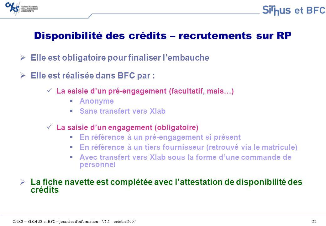 Disponibilité des crédits – recrutements sur RP
