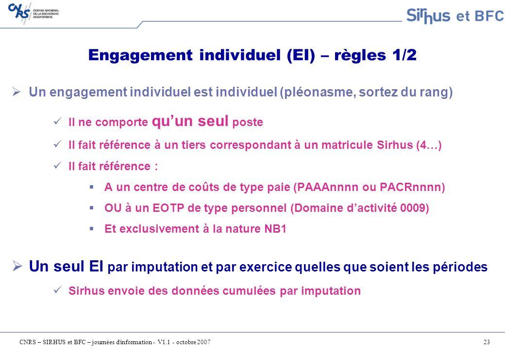 Engagement individuel (EI) – règles 1/2