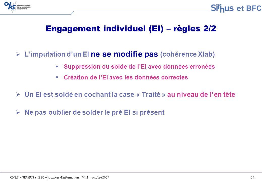 Engagement individuel (EI) – règles 2/2