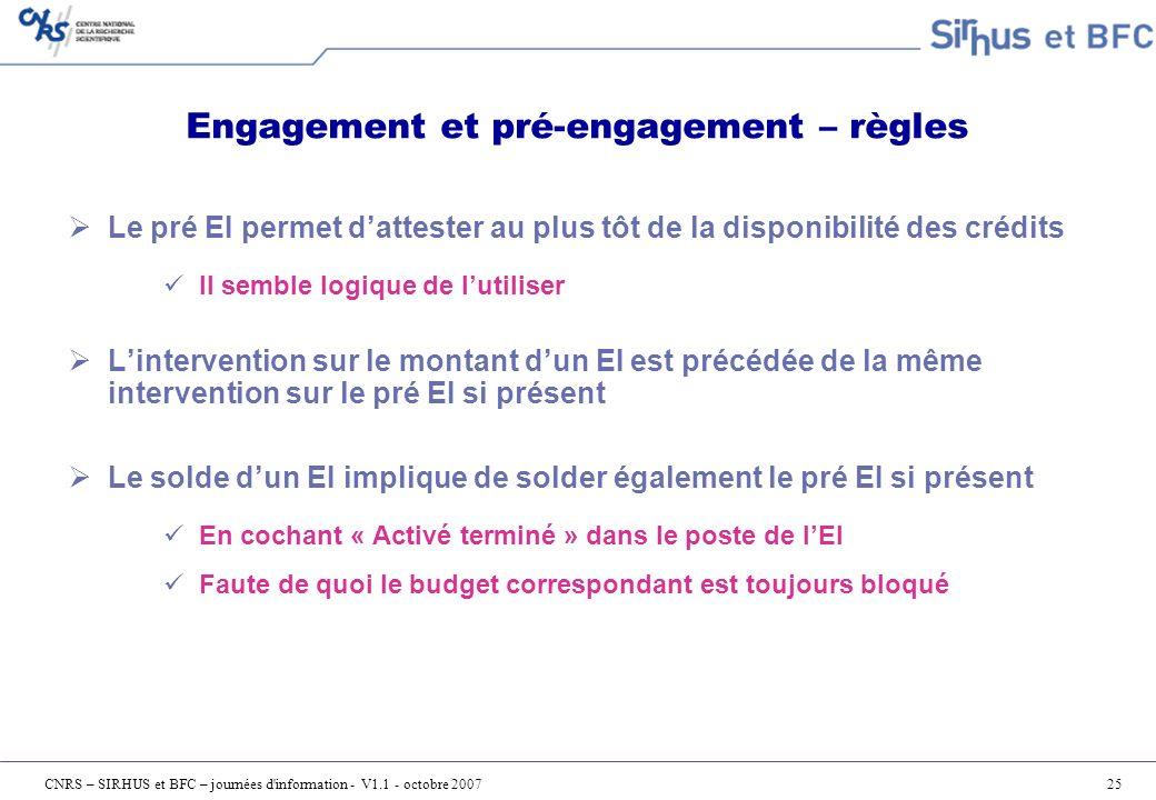 Engagement et pré-engagement – règles