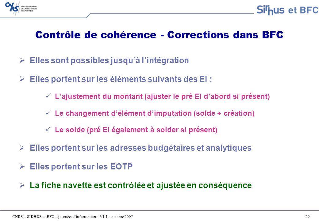 Contrôle de cohérence - Corrections dans BFC