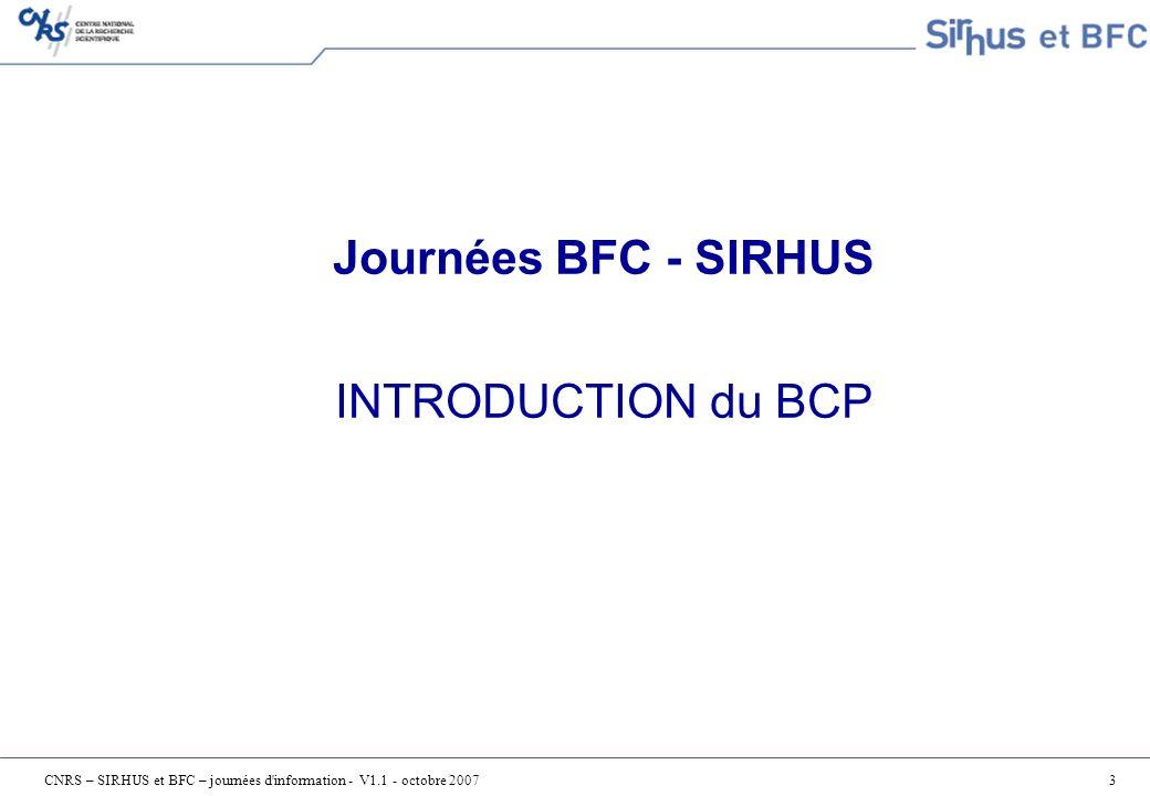Journées BFC - SIRHUS INTRODUCTION du BCP