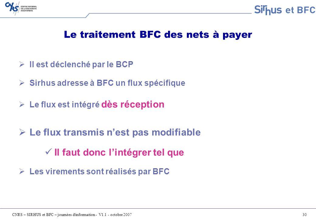 Le traitement BFC des nets à payer