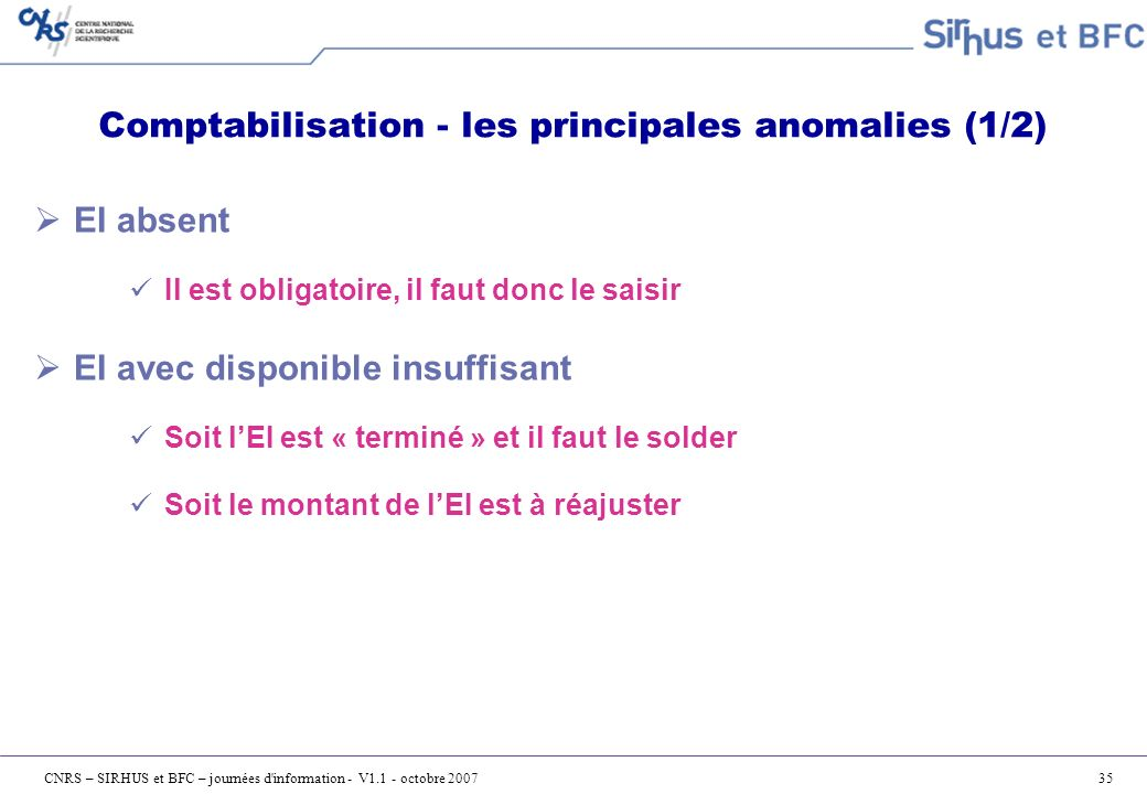Comptabilisation - les principales anomalies (1/2)
