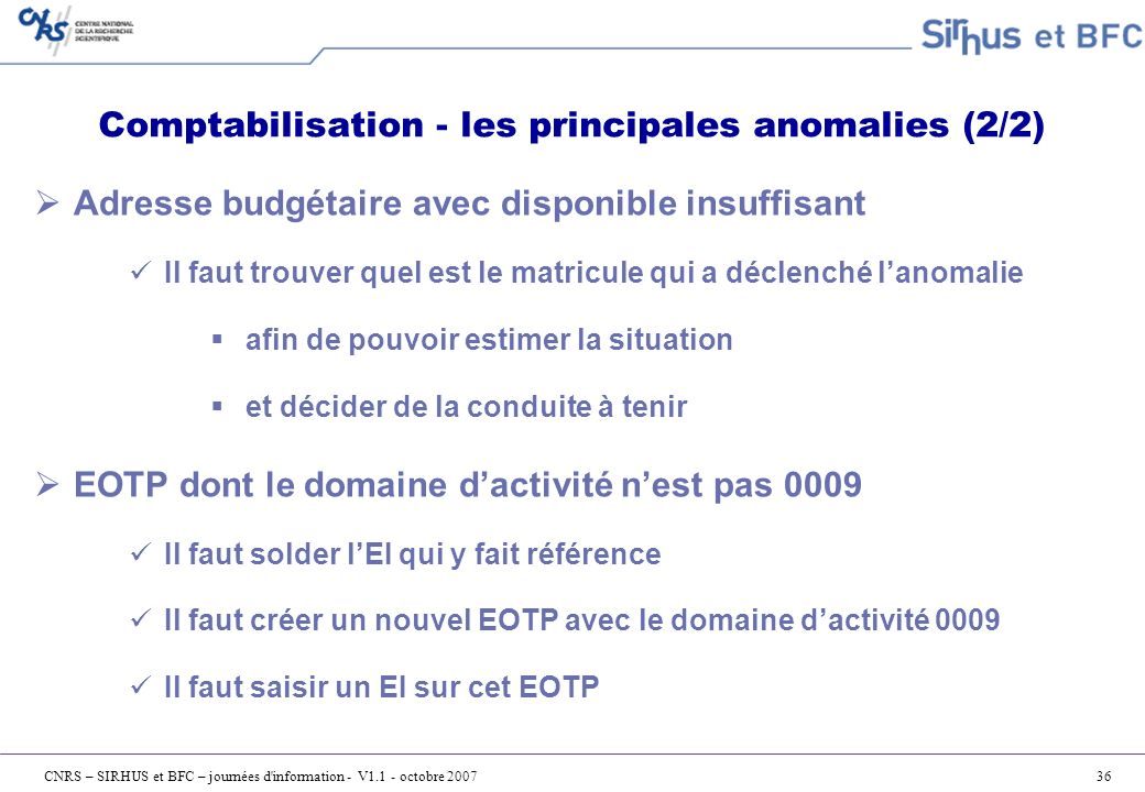 Comptabilisation - les principales anomalies (2/2)