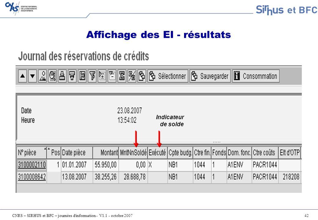 Affichage des EI - résultats