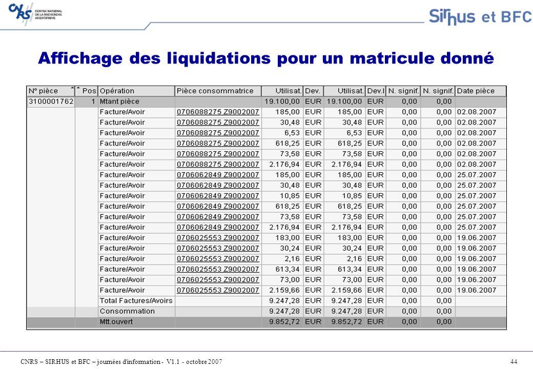 Affichage des liquidations pour un matricule donné