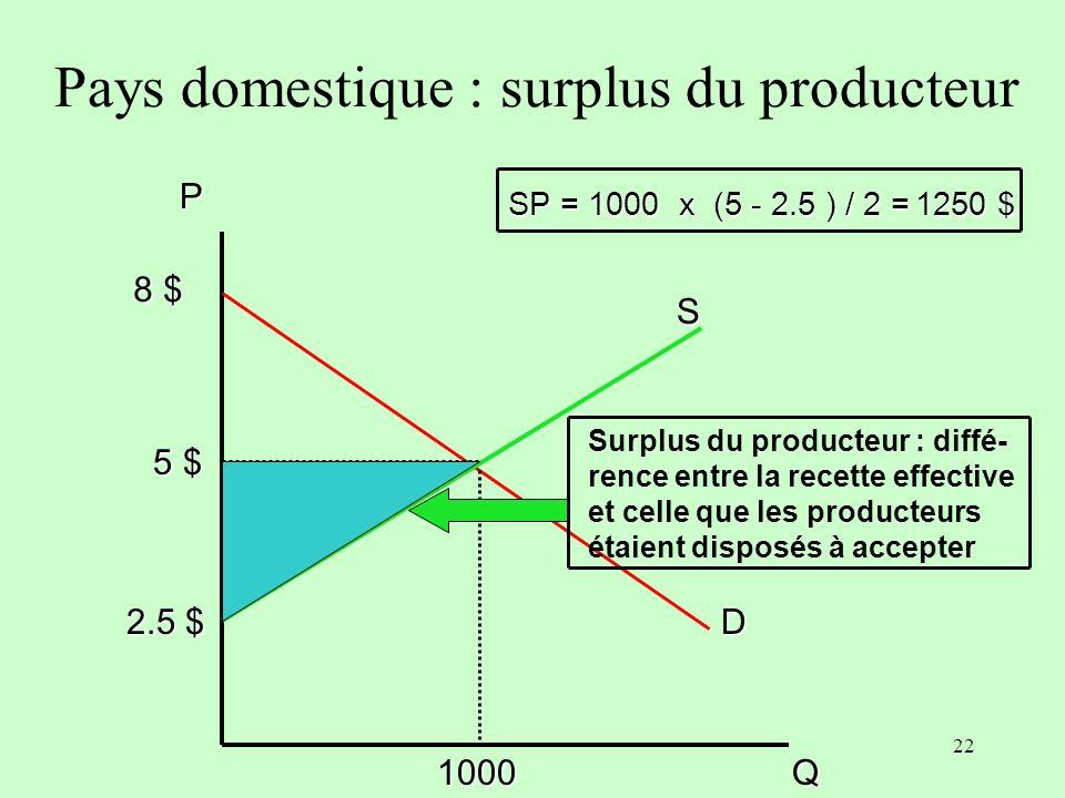 Pays domestique : surplus du producteur