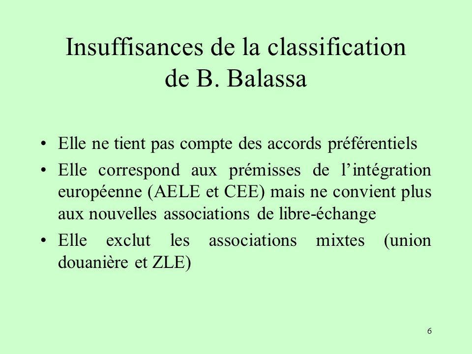 Insuffisances de la classification de B. Balassa