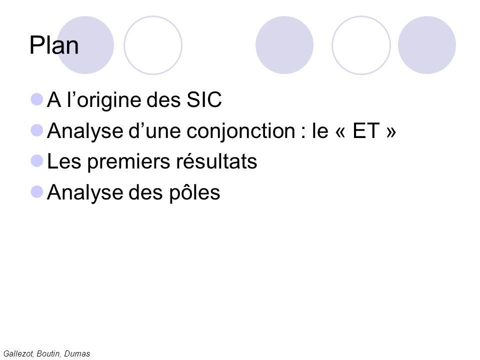 Plan A l'origine des SIC Analyse d'une conjonction : le « ET »