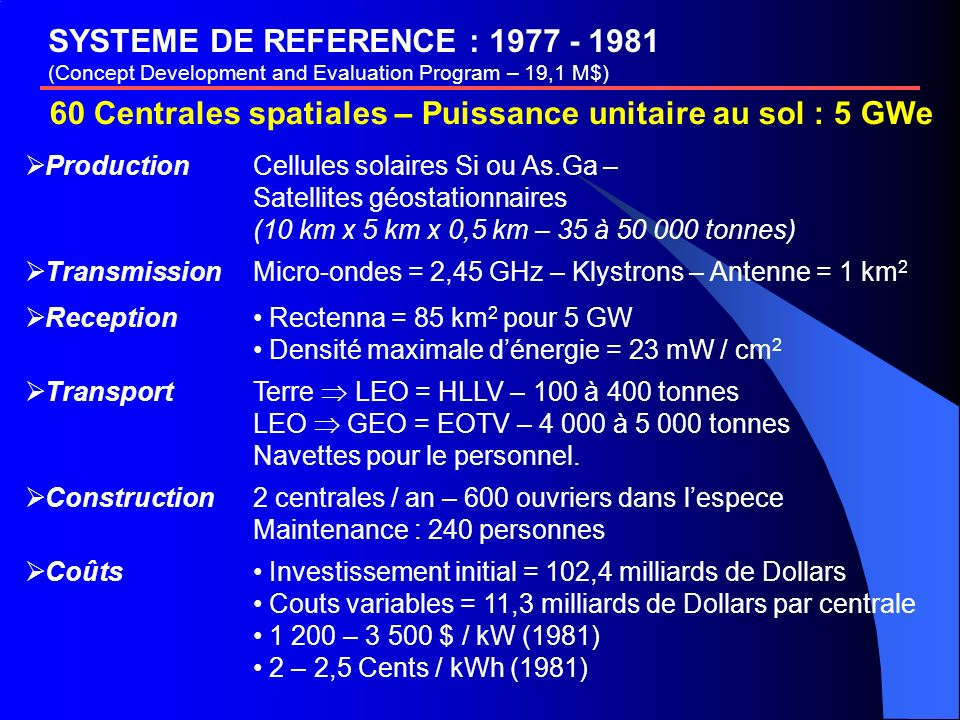 SYSTEME DE REFERENCE : 1977 - 1981