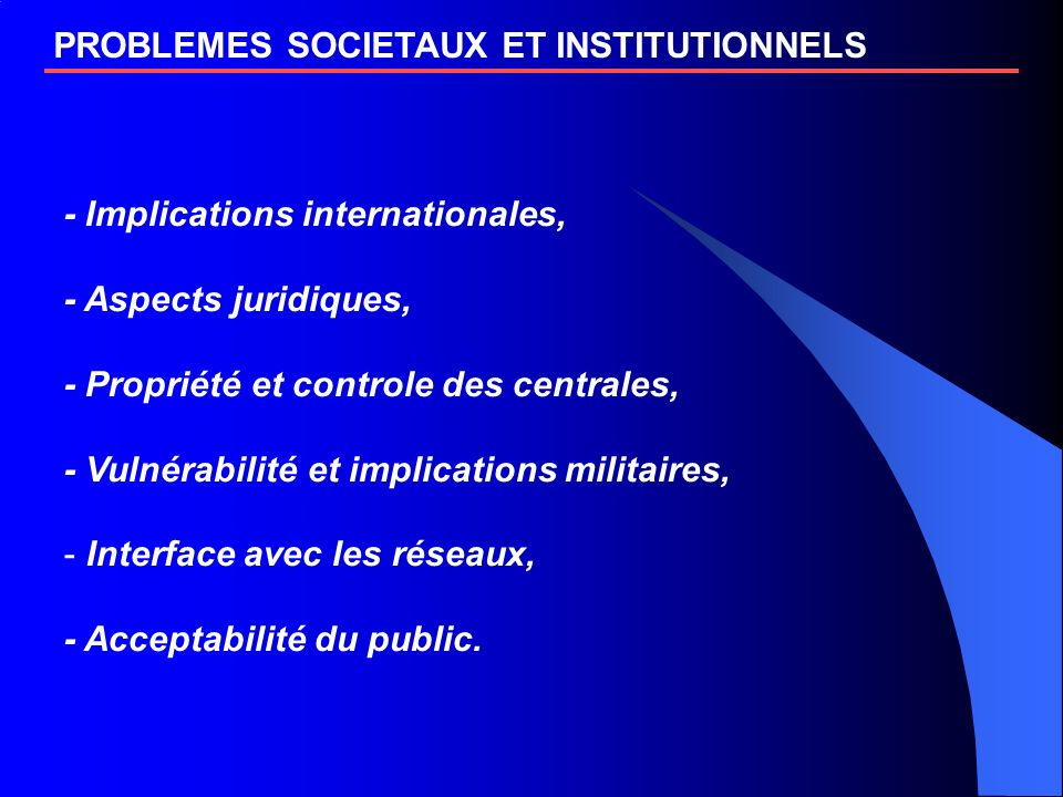 PROBLEMES SOCIETAUX ET INSTITUTIONNELS