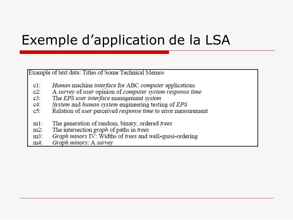Exemple d'application de la LSA