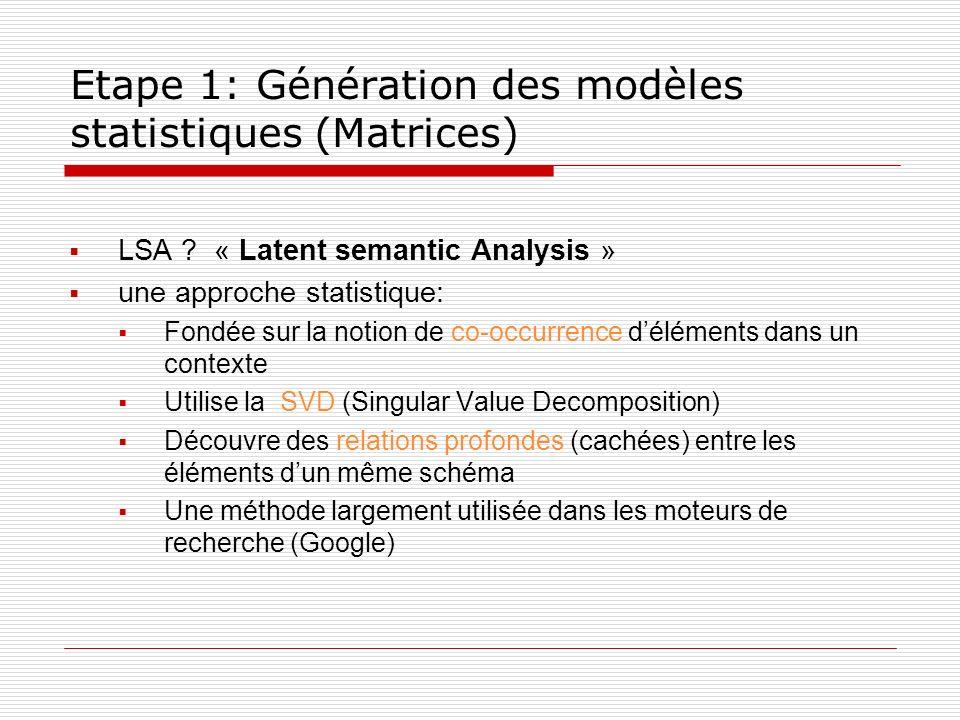 Etape 1: Génération des modèles statistiques (Matrices)