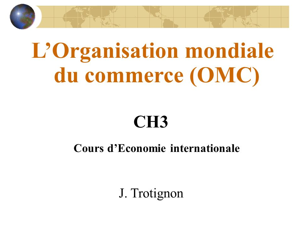 CH3 Cours d'Economie internationale
