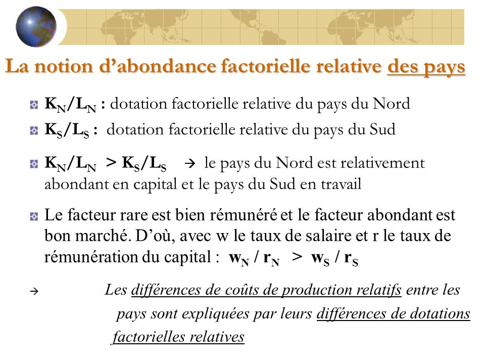 La notion d'abondance factorielle relative des pays