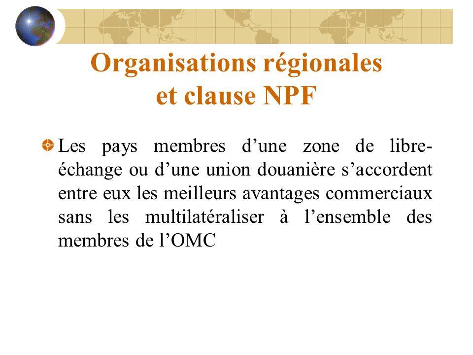 Organisations régionales et clause NPF