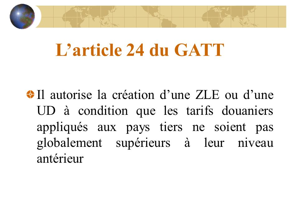 L'article 24 du GATT