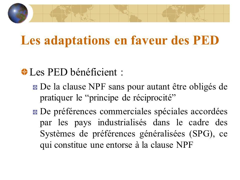 Les adaptations en faveur des PED