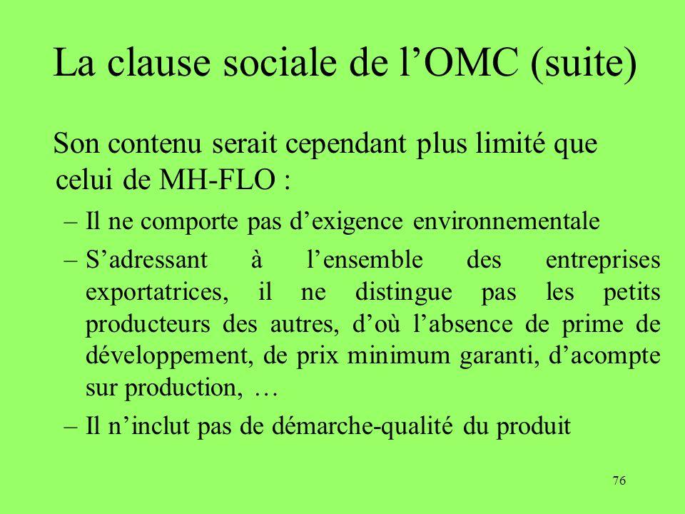 La clause sociale de l'OMC (suite)